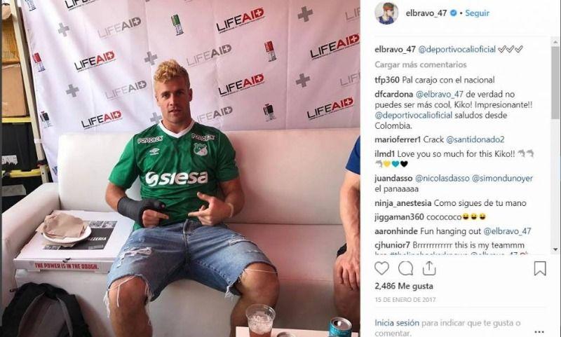 Jugador de fútbol americano usó camiseta del Deportivo Cali