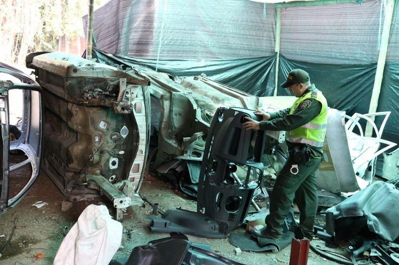 Policía halló desguazadero de vehículos en el corregimiento del Carmelo–Candelaria