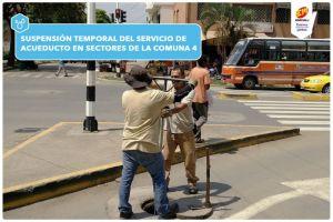 Emcali suspenderá servicio de agua en varios sectores de la Comuna 1 por reparaciones
