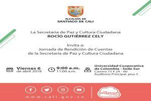 Secretaría de Paz y Cultura Ciudadana rendirá cuentas a los caleños el 6 de abril