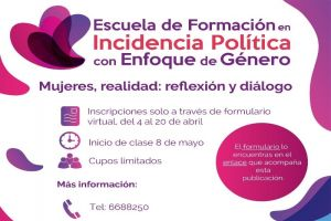 Abiertas inscripciones en Escuela de Incidencia Política con Enfoque de Género