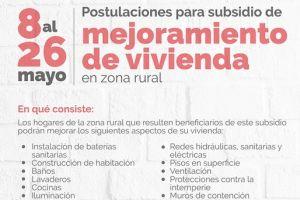 Campesinos podrán postularse a subsidio para mejoramiento de vivienda hasta el 26 de mayo