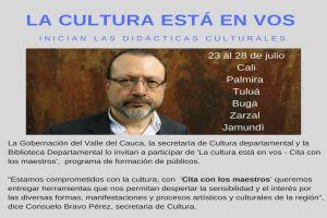 """""""Cita con los maestros"""" llevará al escritor William Ospina por seis municipios del Valle del Cauca"""