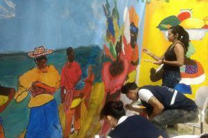 Mural interactivo atrajo a cientos de personas en el Quilombo del Petronio Álvarez